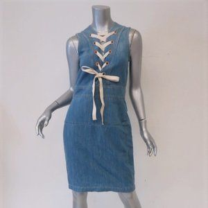 Gucci Denim Lace-Up Dress Size 44 Sleeveless